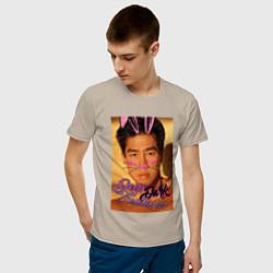 Мужская хлопковая футболка с принтом Deep Dark, цвет: миндальный, артикул: 10274870300001 — фото 2