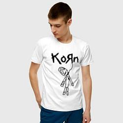 Футболка хлопковая мужская Korn цвета белый — фото 2