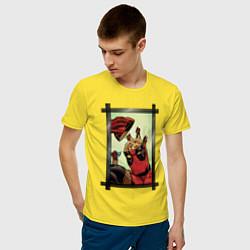 Футболка хлопковая мужская Мозг Дэдпула цвета желтый — фото 2