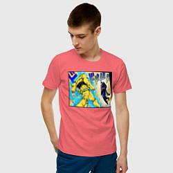Футболка хлопковая мужская Дио идет на забив цвета коралловый — фото 2