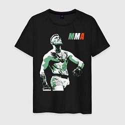 Мужская хлопковая футболка с принтом Конор МакГрегор, цвет: черный, артикул: 10276091300001 — фото 1