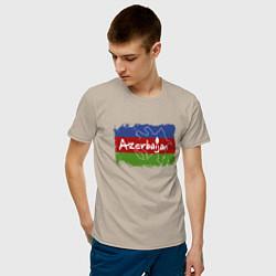 Футболка хлопковая мужская Азербайджан цвета миндальный — фото 2