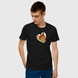 Футболка хлопковая мужская Бэмби цвета черный — фото 2