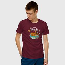 Футболка хлопковая мужская Бэмби цвета меланж-бордовый — фото 2