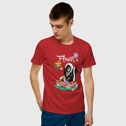 Футболка хлопковая мужская Flower цвета красный — фото 2