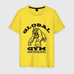 Футболка хлопковая мужская Global Gym цвета желтый — фото 1