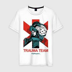 Футболка хлопковая мужская TRAUMA TEAM Cyberpunk 2077 цвета белый — фото 1