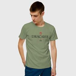 Футболка хлопковая мужская Dracarys GoT цвета авокадо — фото 2