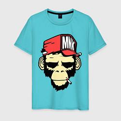Футболка хлопковая мужская Monkey Swag цвета бирюзовый — фото 1