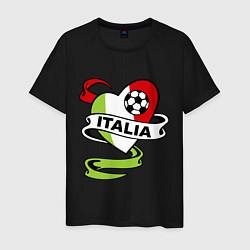 Мужская хлопковая футболка с принтом Italia Football, цвет: черный, артикул: 10036014900001 — фото 1