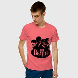 Футболка хлопковая мужская The Beatles Band цвета коралловый — фото 2