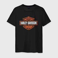 Футболка хлопковая мужская Харлей Дэвидсон цвета черный — фото 1