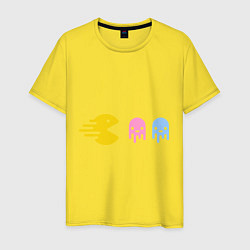Футболка хлопковая мужская Pac-Man: Fast Eat цвета желтый — фото 1