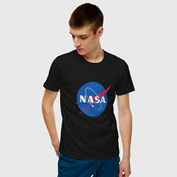 Футболка хлопковая мужская NASA: Logo цвета черный — фото 2