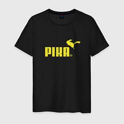 Мужская хлопковая футболка с принтом Пика, цвет: черный, артикул: 10063656200001 — фото 1