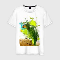 Мужская хлопковая футболка с принтом Зеленый попугай, цвет: белый, артикул: 10065280100001 — фото 1