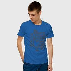 Футболка хлопковая мужская 0017 цвета синий — фото 2