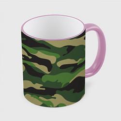 Кружка 3D Камуфляж: хаки/зеленый цвета 3D-розовый кант — фото 1