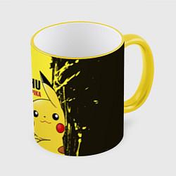 Кружка 3D Pikachu Pika Pika цвета 3D-желтый кант — фото 1