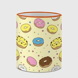 Кружка 3D Сладкие пончики цвета 3D-оранжевый кант — фото 2