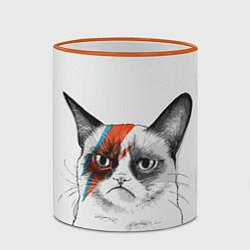 Кружка 3D David Bowie: Grumpy cat цвета 3D-оранжевый кант — фото 2