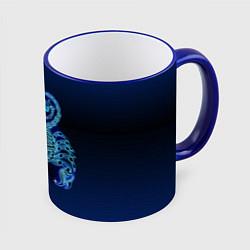 Кружка 3D Знаки Зодиака Скорпион цвета 3D-синий кант — фото 1