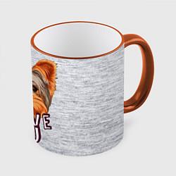 Кружка 3D Йоркширский терьер цвета 3D-оранжевый кант — фото 1