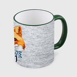 Кружка 3D Милая лисичка! цвета 3D-зеленый кант — фото 1