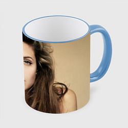 Кружка 3D Анжелина Джоли цвета 3D-небесно-голубой кант — фото 1