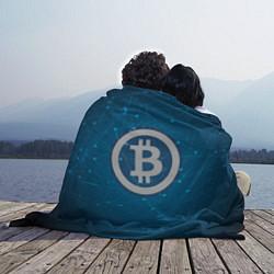 Плед флисовый Bitcoin Blue цвета 3D — фото 2