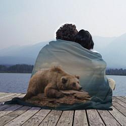 Плед флисовый Грустный медведь цвета 3D-принт — фото 2