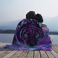 Плед флисовый Неоновый тигр цвета 3D — фото 2