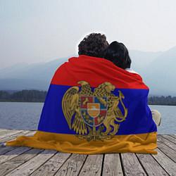 Плед флисовый Герб и флаг Армении цвета 3D — фото 2