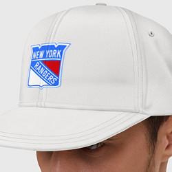 Кепка с прямым козырьком с принтом New York Rangers, цвет: белый, артикул: 10010708100061 — фото 1