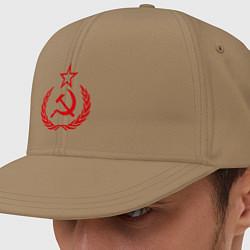 Кепка-снепбек СССР герб цвета миндальный — фото 1
