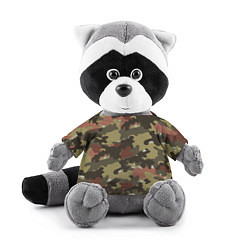 Игрушка-енот Камуфляж: коричневый/хаки цвета 3D-серый — фото 1