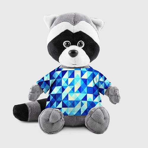Игрушка-енот Синяя геометрия / 3D-Серый – фото 1