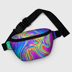 Поясная сумка Цветные разводы цвета 3D — фото 2