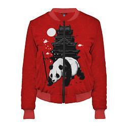 Бомбер женский Panda Warrior цвета 3D-красный — фото 1