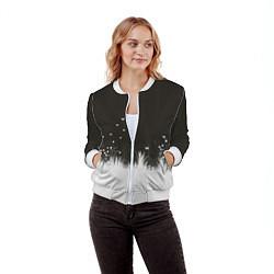 Бомбер женский Ночная полянка цвета 3D-белый — фото 2