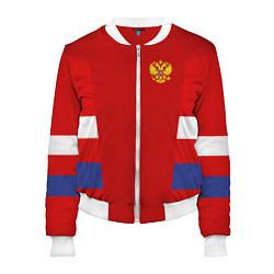 Бомбер женский Russia: Sport Tricolor цвета 3D-белый — фото 1