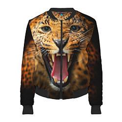 Бомбер женский Рык леопарда цвета 3D-черный — фото 1
