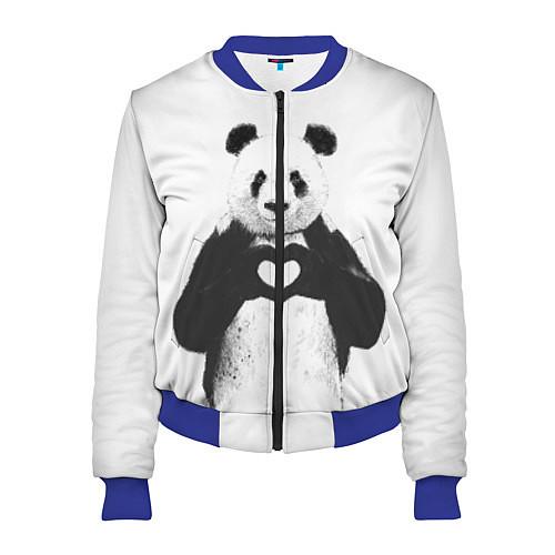 Женский бомбер Panda Love / 3D-Синий – фото 1
