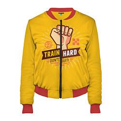 Бомбер женский Train hard, don't quit цвета 3D-красный — фото 1