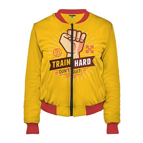 Женский бомбер Train hard, don't quit / 3D-Красный – фото 1