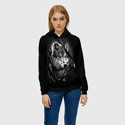 Толстовка-худи женская Серый волк цвета 3D-черный — фото 2