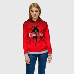 Толстовка-худи женская Кукрыниксы: Дьявол цвета 3D-меланж — фото 2
