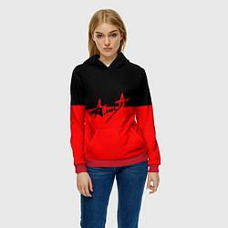 Толстовка-худи женская АлисА: Черный & Красный цвета 3D-красный — фото 2