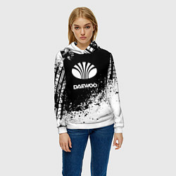 Толстовка-худи женская Daewoo: Black Spray цвета 3D-белый — фото 2
