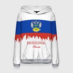 Толстовка-худи женская Murmansk: Russia цвета 3D-меланж — фото 1